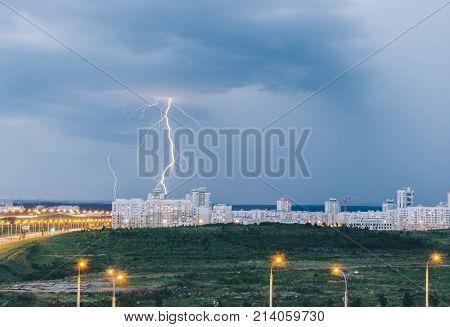 Thunder, lighting and storm in dark night sky