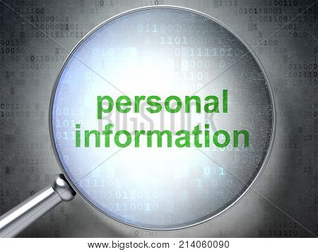 Protection concept: magnifying optical glass with words Personal Information on digital background, 3D rendering