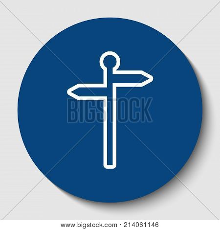 Direction road sign. Vector. White contour icon in dark cerulean circle at white background. Isolated.