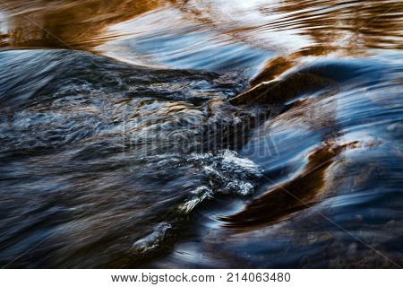 abstract background or texture blue ripples on the river