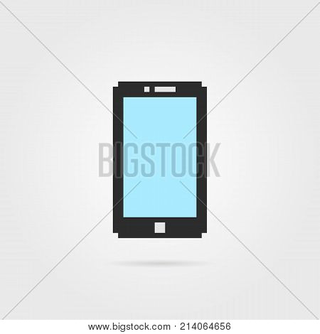simple pixel art phone with shadow. concept of 8bit particles, equipment, sensor, data transfer, visual identity. flat pixelart style trend modern logotype graphic old game design on white background