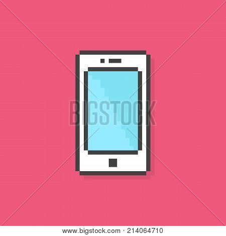 pixel art phone simple icon. concept of 8bit particles, equipment, sensor, data transfer, visual identity. flat pixelart style trend modern logotype graphic old game design on pink background