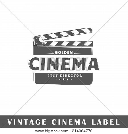 Cinema label isolated on white background. Design element. Template for logo signage branding design. Vector illustration