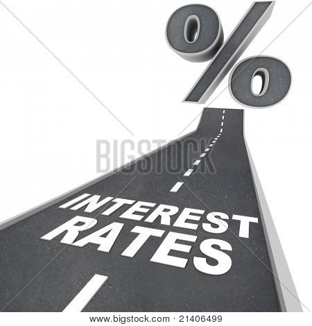 The words Interest Rates on a blacktop road and a percent sign at the top of the street, symbolizing the rising interest rates due to economic factors and conditions poster