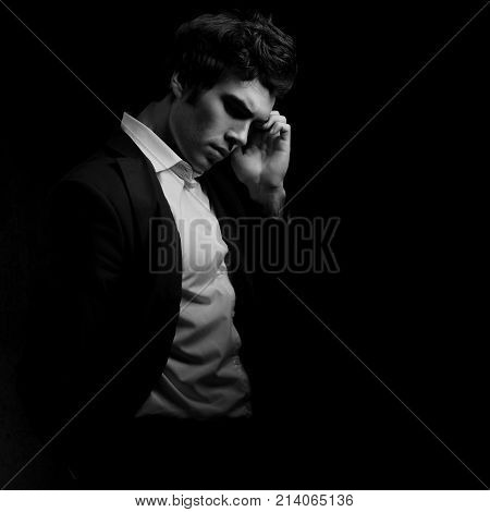 Thinking Depression Charismatic Man Looking Down On Dark Shadow Dramatic Light Background. Closeup B