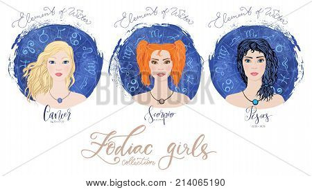 Trigon of water, zodiac signs Cancer, Scorpio and Pisces in image of beauty girls. Vector illustration for column Horoscope includes modern hand drawn lettering and dates. Part of collection