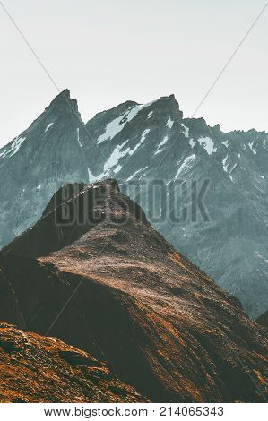 Mountains Landscape Romsdal Alps in Norway Travel scenery scandinavian nature