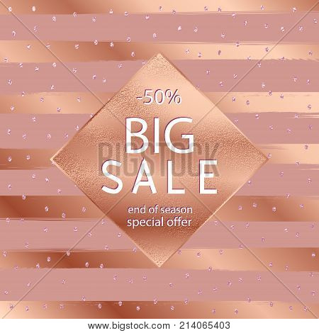 Sale Fall Gold Banner . Vector Illustration With Golden Frame .