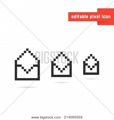 set of black editable pixel art envelopes. concept of correspondence, mosaic, 8bit visual identity, spam, report, sms. flat pixelart style trend modern logotype graphic design on white background