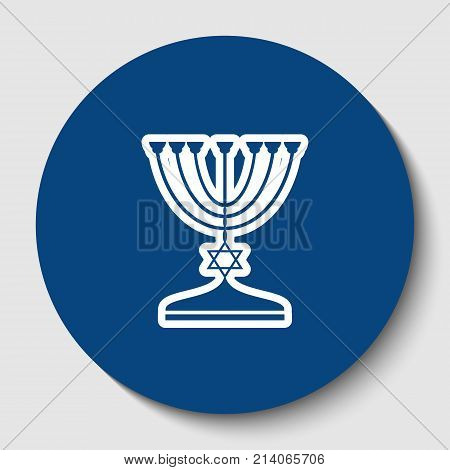 Jewish Menorah candlestick in black silhouette. Vector. White contour icon in dark cerulean circle at white background. Isolated.