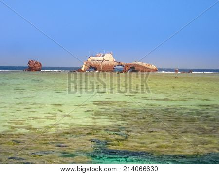 Landscape of shipwreck at Gordon Reef in the Tiran straits , in the Red Sea, near Sharm el Sheikh. Red Sea, Sinai Peninsula, Egypt. Copy space. poster