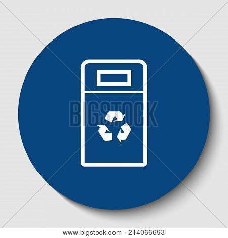 Trashcan sign illustration. Vector. White contour icon in dark cerulean circle at white background. Isolated.