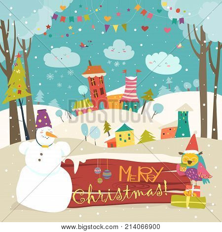 Vector christmas greeting card with little town in snowdrifts