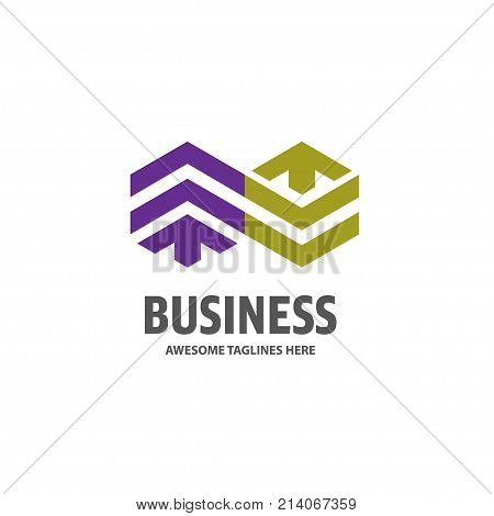 Real estate unlimited development with arrow logo concept icon, Building logo illustration, Skyscraper logo design, Abstract building logo, Vector tall business building