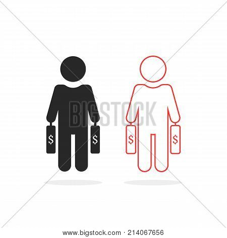 black and thin line investor icon. concept of banking market, investing briefcase, sponsor cash, manager set, savings, biz plan, wealthy management. flat style trend graphic design on white background