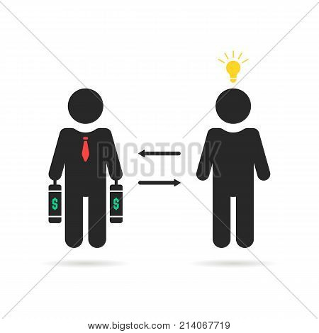 investor and startuper black icon. concept of dollar credit, capital depositor, profit sale, light bulb, teacher, opportunity, sponsor. flat style trend logotype graphic design on white background