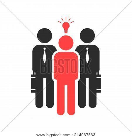 startuper and investor like funding. concept of credit, capital depositor, profit sale, light bulb, teacher, opportunity, sponsor. flat style trend black logotype graphic design on white background