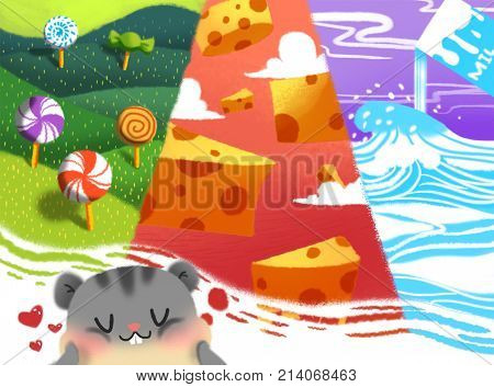 Cat's Dream Sticker. Video Game's Digital CG Artwork, Colorful Concept Illustration, Realistic Cartoon Style Background