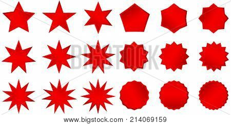Collection Of Trendy Retro Stars Shapes. Sunburst Design Elements Set. Bursting Rays Clip Art. Red S