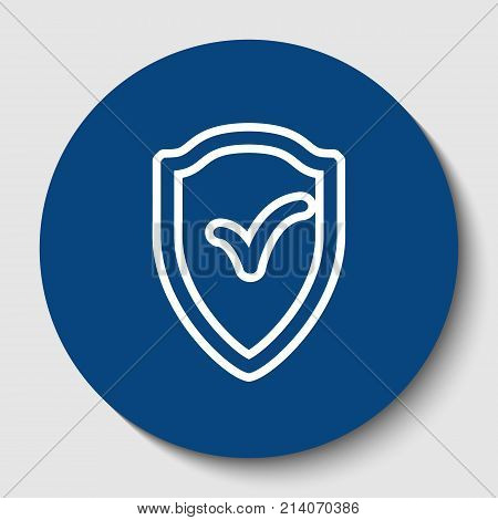 Shield sign as protection and insurance symbol. Vector. White contour icon in dark cerulean circle at white background. Isolated.