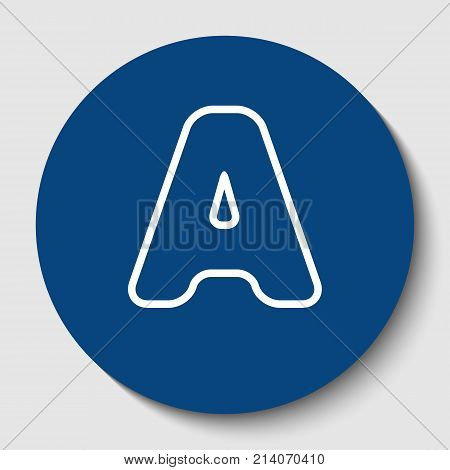 Letter A sign design template element. Vector. White contour icon in dark cerulean circle at white background. Isolated.