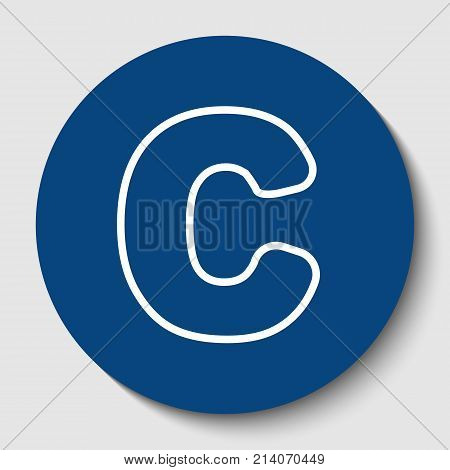 Letter C sign design template element. Vector. White contour icon in dark cerulean circle at white background. Isolated.