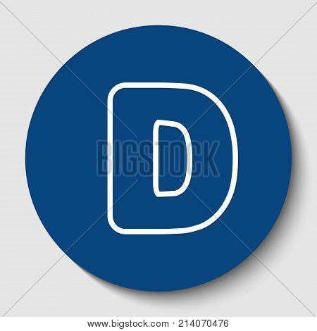Letter D sign design template element. Vector. White contour icon in dark cerulean circle at white background. Isolated.