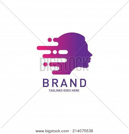 creative woman head logo Brain, Creative mind, learning and design icon, Man head, people symbol, styles head vector