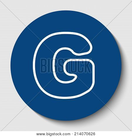 Letter G sign design template element. Vector. White contour icon in dark cerulean circle at white background. Isolated.
