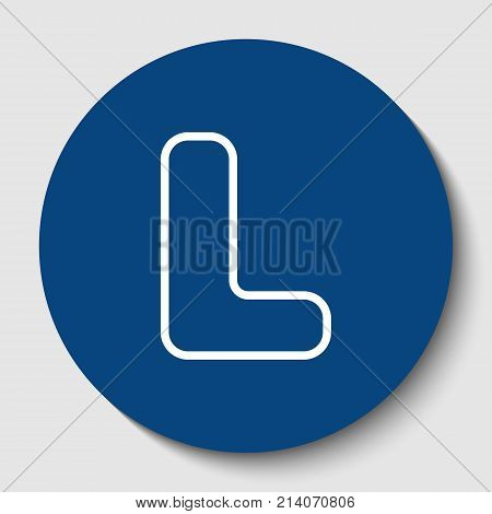 Letter L sign design template element. Vector. White contour icon in dark cerulean circle at white background. Isolated.