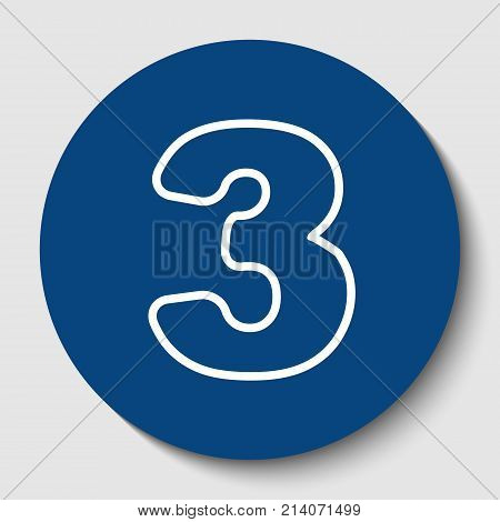 Number 3 sign design template element. Vector. White contour icon in dark cerulean circle at white background. Isolated.