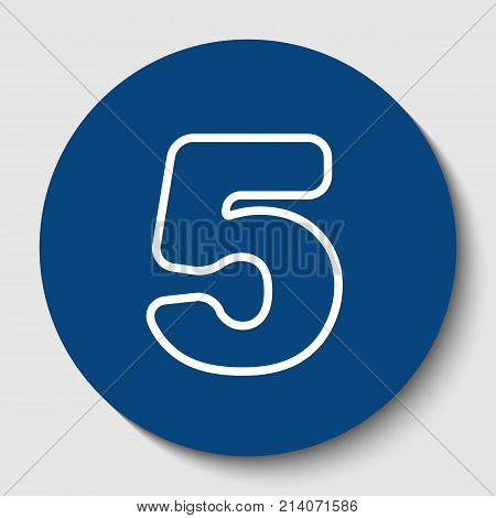 Number 5 sign design template element. Vector. White contour icon in dark cerulean circle at white background. Isolated.