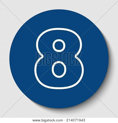 Number 8 sign design template element. Vector. White contour icon in dark cerulean circle at white background. Isolated.