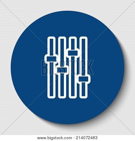 Adjustment music line sign. Vector. White contour icon in dark cerulean circle at white background. Isolated.