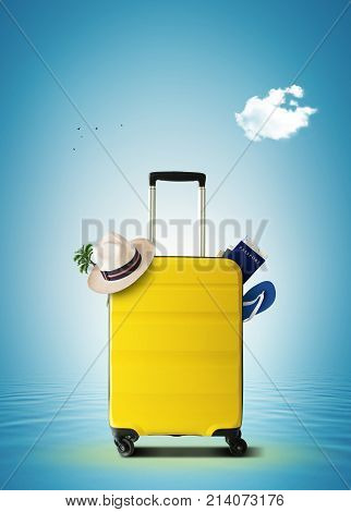 Yellow travel bag on wheels for travel