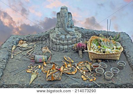 Lord Ganesha on top of the Bromo vulcano on Java Indonesia