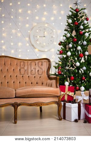Christmas Background - Interior With Christmas Tree, Vintage Sofa And Gifts