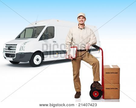 smiling worker with handtruck, 3d truck background