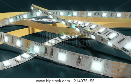 Diode Strip Led Lights Tape Close-up 3D Render On Darck