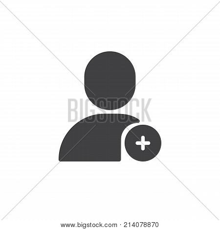 Add user icon vector, filled flat sign, solid pictogram isolated on white. Account add symbol, logo illustration.