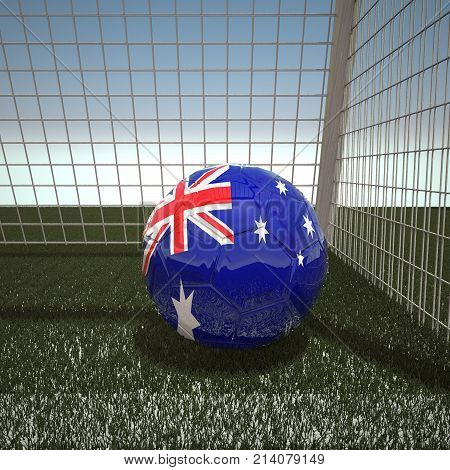 Football with flag of Australia, 3d rendering