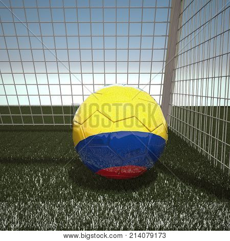 Football with flag of Colombia, 3d rendering