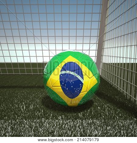 Football with flag of Brazil, 3d rendering
