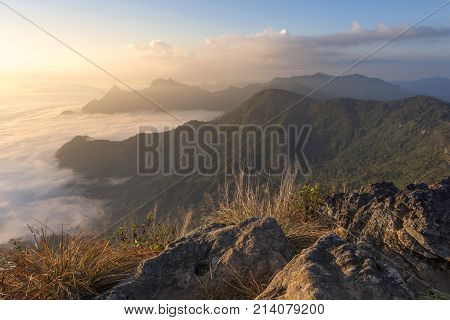 The Mist At Phu Chi Fa In The Morning, Chiang Rai, Thailand