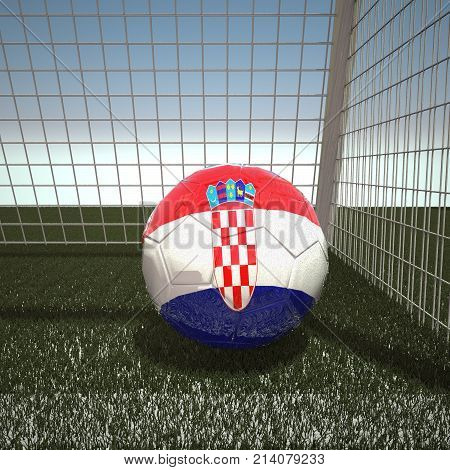 Football with flag of Croatia, 3d rendering