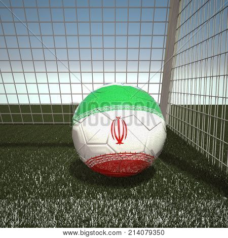 Football with flag of Iran, 3d rendering