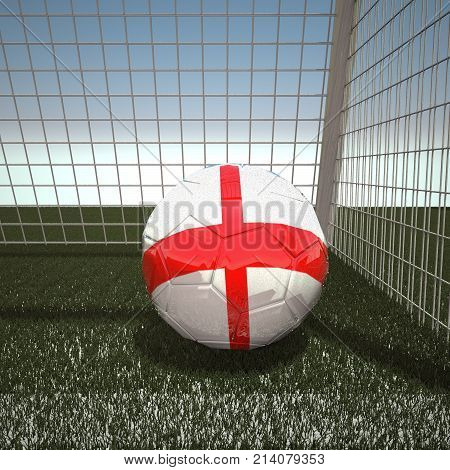 Football with flag of England, 3d rendering