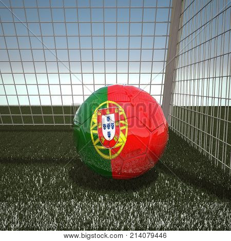Football with flag of Portugal, 3d rendering