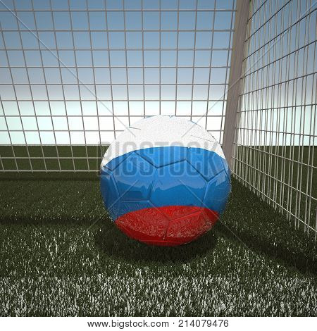 Football with flag of Russia, 3d rendering