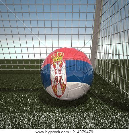 Football with flag of Serbia, 3d rendering